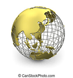 Golden globe, Asia - Golden wired 3D globe of Asia isolated...