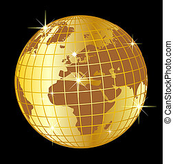 golden globe europe and africa on black background
