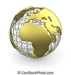 Golden globe, Europe - Golden wired 3D globe of Europe...