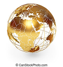 Golden Globe. Icon isolated on white background. 3d render