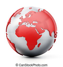 Golden globe isolated on white background. 3D illustration