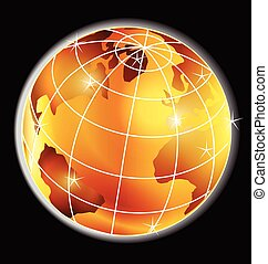 Golden globe map logo