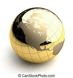 Golden Globe on white background - Metal globe of the Earth...