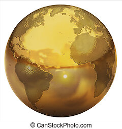 golden globe 3d illustration