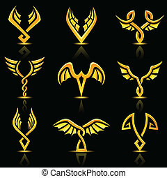 Golden glossy abstract wings - vector illustration of golden...