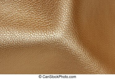 Golden Glossy Artificial Leather Background Texture