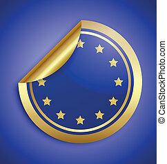 Europe Union sticker - Golden glossy Europe Union sticker...