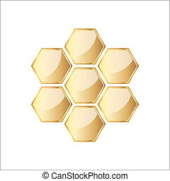 Golden glossy honeycomb icon. Vector illustration