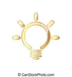Golden glossy light bulb icon. Vector illustration.