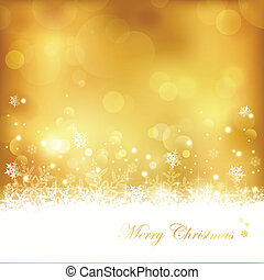 Golden glowing Christmas background with stars, snowflakes and lights