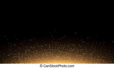 Golden glowing dust on a black background. Backlight from...