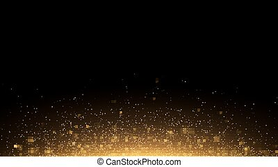 Golden glowing dust on a black horizontal background. Backlight from the bottom. Template for the project. Sparkle dots, round tinsel elements celebration backdrop graphic design. Vector