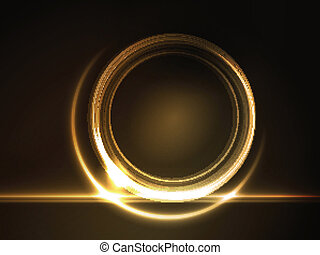 Golden glowing round frame for your text - Golden light...