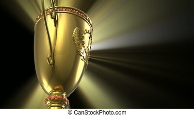 Golden glowing trophy cup on black - Award winning and...