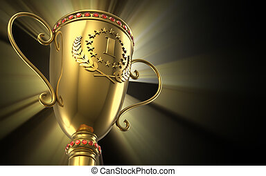 Golden glowing trophy cup on black background - Award...