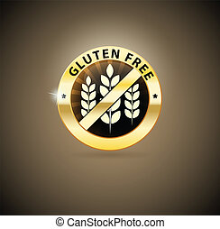 Golden gluten free icon. Beautiful harmonic colors and luxury feel.