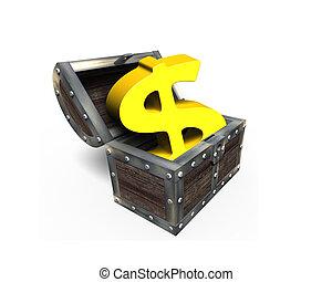 Golden golden dollar sign in treasure chest, 3D rendering
