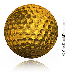 golden golf ball on white background