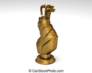 Golden golf trophy