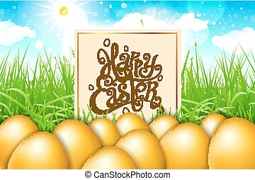 Golden gpld eggs in a field of grass with blue sky. happy easter lettering modern calligraphy, vector
