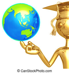 Golden Grad With World - 3D Concept And Presentation Figure