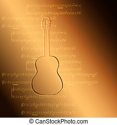 golden gradient background with guitar and music notes - vector illustration