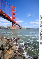 Golden Grate Bridge in spring
