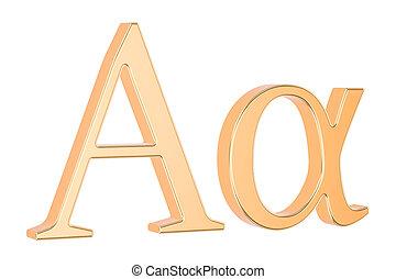 Golden Greek letter alpha, 3D rendering