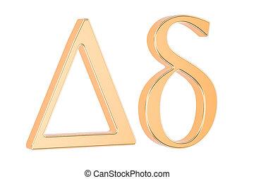 Golden Greek letter delta, 3D rendering