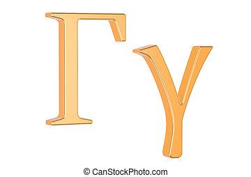 Golden Greek letter gamma, 3D rendering