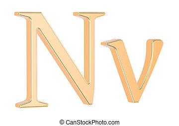 Golden Greek letter nu, 3D rendering