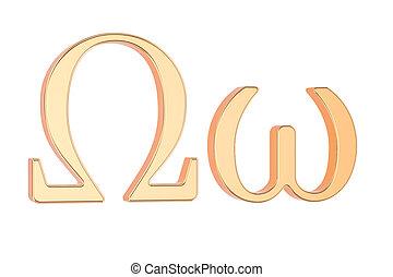 Golden Greek letter Omega, 3D rendering