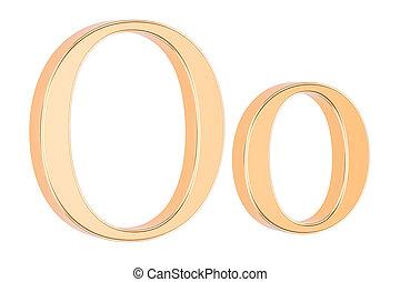Golden Greek letter omicron, 3D rendering