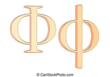 Golden Greek letter phi, 3D rendering