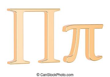 Golden Greek letter pi, 3D rendering