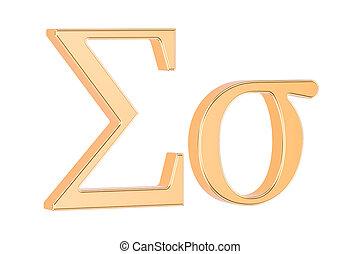 Golden Greek letter sigma, 3D rendering