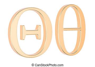 Golden Greek letter theta, 3D rendering - Golden Greek...