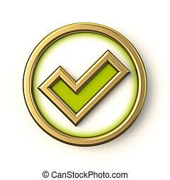 Golden green circle check mark 3D