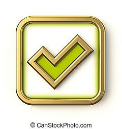 Golden green square check mark 3D