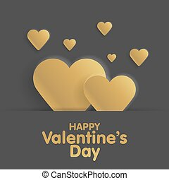 Golden Greeting Card Happy Valentine's Day. Lettering with hearts on the background. Vector illustration