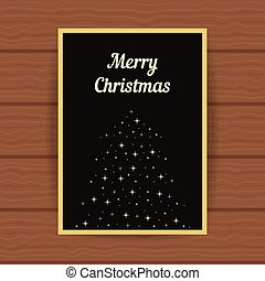 golden greeting card with fir tree from sparks