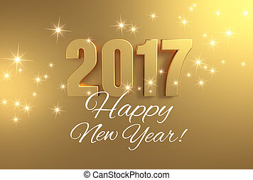 Golden greetings 2017 - Gold 2017 year type and greetings on...