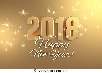 Golden greetings 2018 - Gold 2018 year type and Happy New...