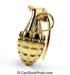 Golden grenade - 3d rendered illustration of a golden...