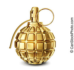 grenade - golden grenade isolated on a white. 3d...