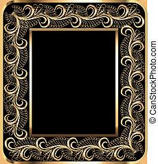 gold(en), groente, frame, ornament, achtergrond