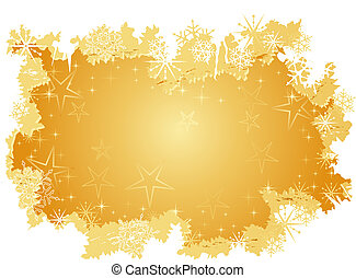 Golden grunge background with stars and snow flakes
