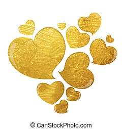 Golden Grunge Love Heart Vector Illustration