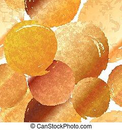 Golden grunge round spots of foil, seamless pattern