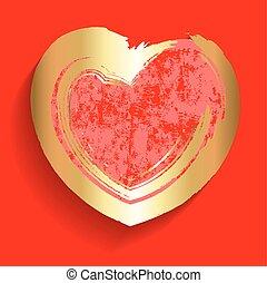 Golden Grunge Valentine Heart